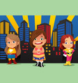 three little girls wearing superheroes vector image