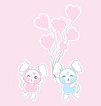 valentines day with cute rabbits bring love vector image vector image