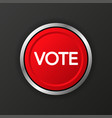 vote 3d realistic red button on black background