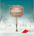 Winter christmas landscape with a wooden ornate vector image vector image