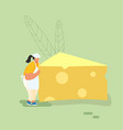 woman carry huge piece cheese diet healthy vector image vector image