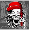 women mafia wearing cap handling gun vector image vector image