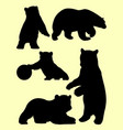 young bears animal silhouette vector image vector image