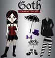 Goth Girl Character Set vector image