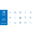 15 landscape icons vector image vector image