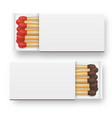 3d realistic opened blank box of matches vector image vector image