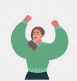 angry woman up her hands vector image