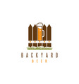 backyard beer design template with fence and mug vector image vector image