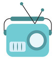 blue old radio on white background vector image vector image