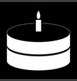 cake with candle the white color icon vector image vector image