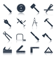 Carpentry tools icons black vector image