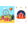 cartoon amusement park concept vector image vector image