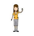 character woman young people waving hand vector image vector image