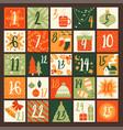 cute colorful hand drawn christmas advent calendar vector image