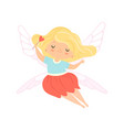 cute little winged fairy with blonde hair vector image vector image