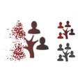 Destructed dot halftone genealogy tree icon