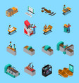 footwear factory isometric icons set vector image