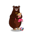 funny bear holding cute little girl in pink dress vector image