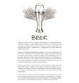 glass beer and wheat refreshing alcohol drink vector image