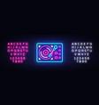 gramophone neon signboard retro music neon vector image