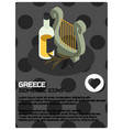 greece color isometric poster vector image vector image