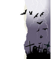halloween background with flying bats and a place vector image