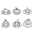 halloween pumpkin sketchy outline icons vector image vector image