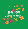 happy cinco de mayo paper art mexican flower card vector image vector image