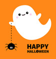happy halloween flying ghost spirit holding vector image vector image
