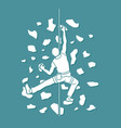 man climbing on the wall hiking indoor vector image vector image