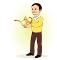 Man person with Lamp of Aladdin vector image vector image