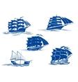 Medieval sailing ships icons vector image vector image