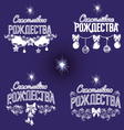 Merry Christmas inscription in Russian set vector image vector image