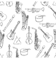 musical instruments pattern vector image vector image