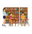 people in library looking for information vector image