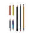 realistic sharpened pencils of with eraser vector image vector image