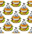 Seamless cartoon cheeseburger pattern vector image vector image