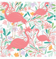 seamless pattern of flamingo bird in tropical vector image