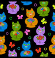 seamless pattern of hand drawn cartoon cats vector image vector image