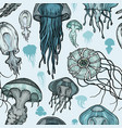 seamless pattern with sea jellyfish vector image vector image