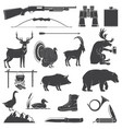 set hunting equipment and animal icon vector image