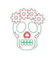skull flowers the day of the death mexican vector image vector image