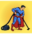 Superhero man with vacuum cleaner pop art vector image vector image
