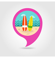 Surfboard pin map icon Summer Vacation vector image vector image