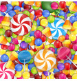 sweets background with lollipop candy corn and gu vector image vector image
