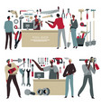 tool shop assistant and customers selling vector image