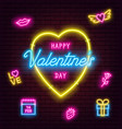 valentines day neon sign on brick wall background vector image vector image