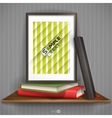Wood Shelf With Photo Frame vector image vector image