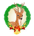 young deer christmas and new year theme frame vector image vector image