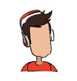 Young man cartoon user headphones device